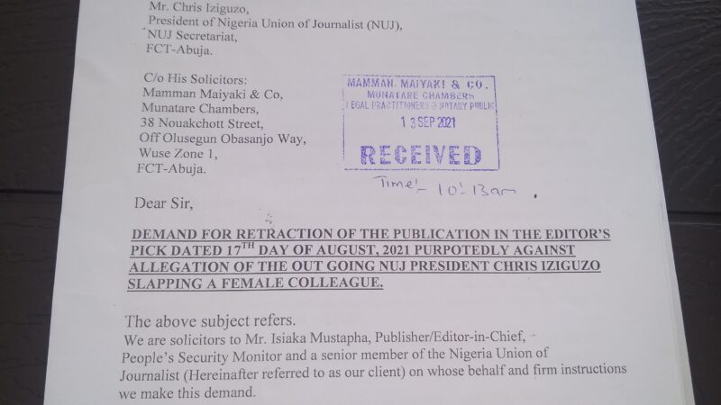 ALLEGED LIBEL: PEOPLE'S SECURITY MONITOR SET TO DRAG NUJ PRESIDENT TO COURT…DEMANDS PUBLIC APOLOGY, N100 MILLION COMPESATION